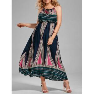 Plus Size Printed Maxi Slip A Line Flowy Dress