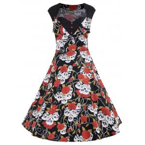 Plus Size Floral Skull Print A Line Dress