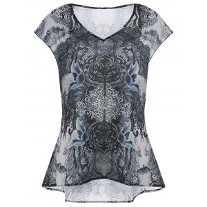 V Neck Printed High Low Plus Size Top