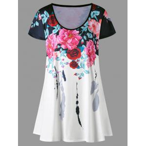 Plus Size Floral Longline Top - Colormix - 3xl