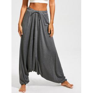 Drawstring Drop Bottom Harem Pants - Gray - L