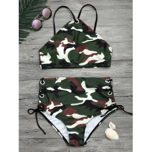 Camouflage Print Lace Up Crop Top Bikini