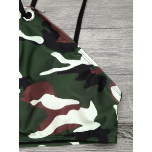 Camouflage Print Lace Up Crop Top Bikini - ARMY GREEN XL