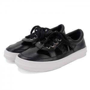 Faux Leather Hollow Out Athletic Shoes - BLACK 37