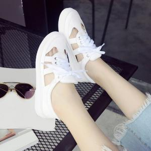 Faux Leather Hollow Out Athletic Shoes - WHITE 39