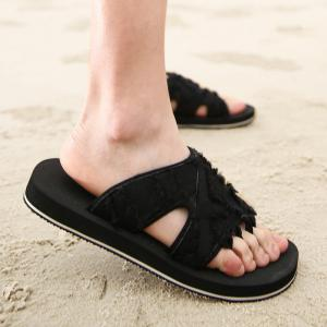 Synthetic Flip Flop Slippers - Black - 44