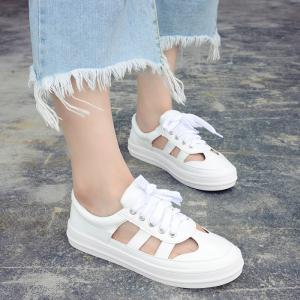 Faux Leather Hollow Out Athletic Shoes - White - 38