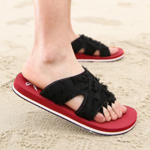 Synthetic Flip Flop Slippers - Red - 40