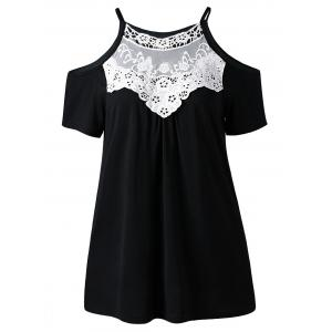 Cold Shoulder Contrast Lace Top