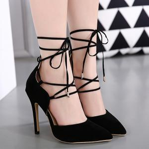 Stiletto Heel Lace Up Pointed Toe Pumps - BLACK 37