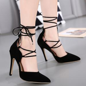 Stiletto Heel Lace Up Pointed Toe Pumps - Black - 38