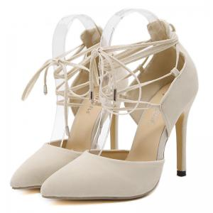 Stiletto Heel Lace Up Pointed Toe Pumps - OFF-WHITE 39