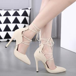 Stiletto Heel Lace Up Pointed Toe Pumps - Off-white - 38