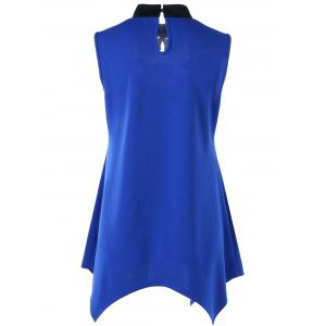 Stand Collar Sleeveless Patched Top - BLUE L