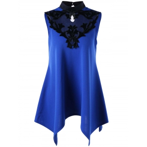 Stand Collar Sleeveless Patched Top - Blue - Xl
