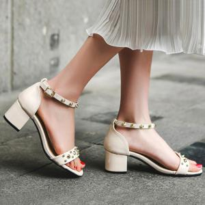 Chunky Heel Stud Ankle Strap Sandals -