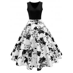 High Waisted Printed Vintage Dress - White And Black - Xl