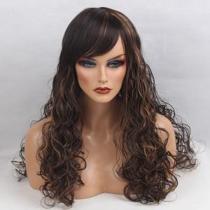 Long Inclined Bang Colormix Shaggy Curly Synthetic Wig