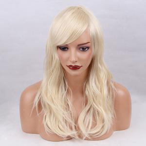 Long Inclined Bang Layered Slightly Curly Synthetic Wig - Light Gold