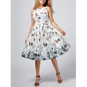 Sleeveless A Line Floral Printed Dress with Belt