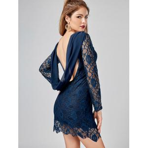 Long Sleeve Chiffon Panel Backless Lace Dress - DEEP BLUE XL