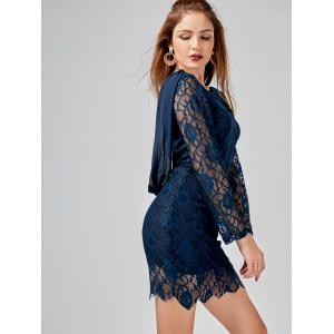 Long Sleeve Chiffon Panel Backless Lace Dress -
