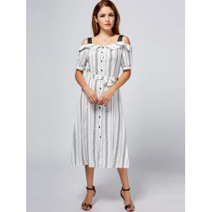 Button Up Print Cold Shoulder Tea Length Dress - WHITE 2XL