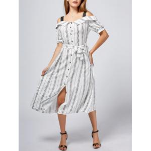 Button Up Print Cold Shoulder Tea Length Dress