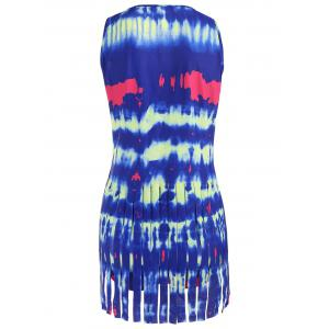 Tie Dye Fringed Tankini Set - DEEP BLUE M