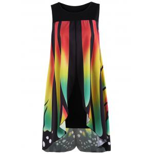 Front Slit Butterfly Shape Flowy Sleeveless Dress - COLORMIX XL