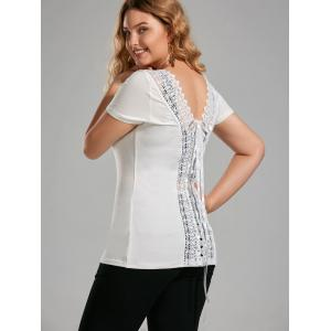 Plus Size Lace Up Open Back Top - Off-white - 5xl