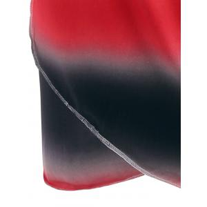 Ombre Wrap Cover Up Dress - RED ONE SIZE