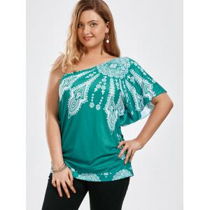One Shoulder Floral Butterfly Sleeve Plus Size Top - GREEN XL