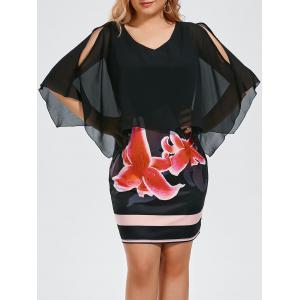 Floral Print Plus Size Slit Sleeve Capelet Dress