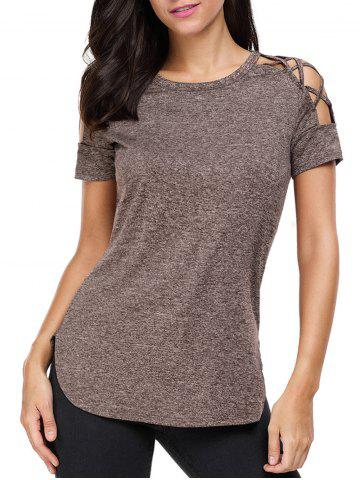 Fancy Heathered Crisscross Cold Shoulder T-shirt - L COFFEE Mobile