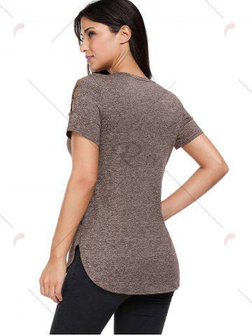 Best Heathered Crisscross Cold Shoulder T-shirt - L COFFEE Mobile