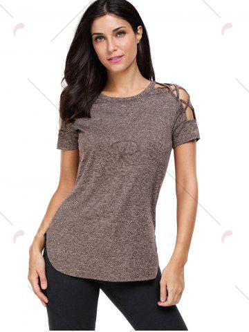 Store Heathered Crisscross Cold Shoulder T-shirt - L COFFEE Mobile