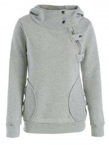 Store Long Sleeve Pockets Inclined Zipper Pullover Hoodie GRAY M
