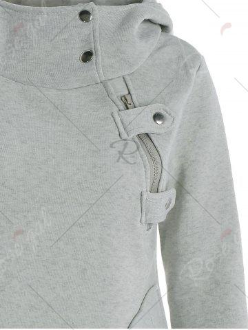 Sale Long Sleeve Pockets Inclined Zipper Pullover Hoodie - M GRAY Mobile