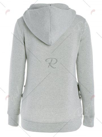 Cheap Long Sleeve Pockets Inclined Zipper Pullover Hoodie - M GRAY Mobile