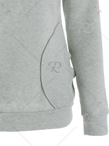 Online Long Sleeve Pockets Inclined Zipper Pullover Hoodie - M GRAY Mobile