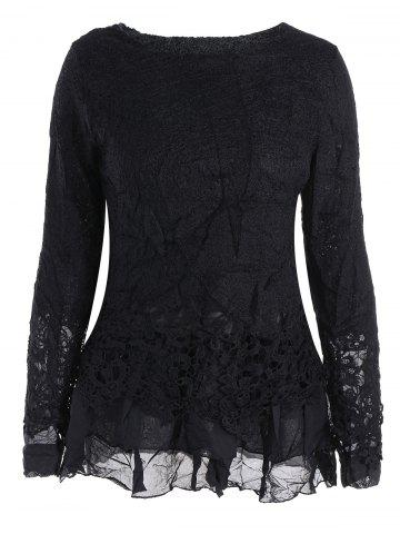 Latest Lace Panel Long Sleeve Casual Top BLACK M