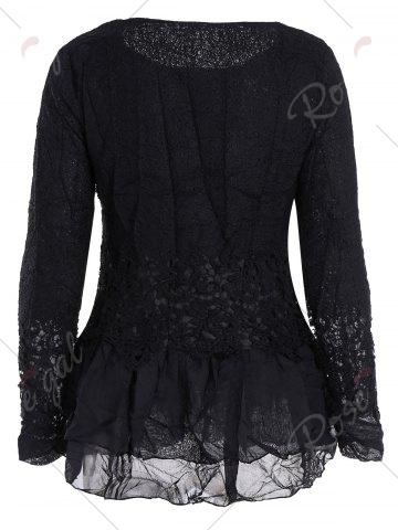 Buy Lace Panel Long Sleeve Casual Top - M BLACK Mobile