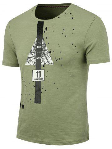 Outfit Splatter Painted Graphic T-shirt GREEN 2XL