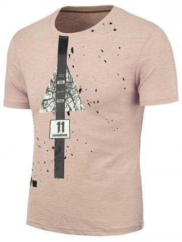 Best Splatter Painted Graphic T-shirt PAPAYA 2XL