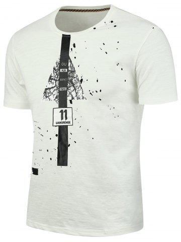 Discount Splatter Painted Graphic T-shirt WHITE 2XL