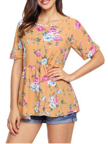 Cuffed Floral Lace-up Babydoll Top - Yellow - 2xl