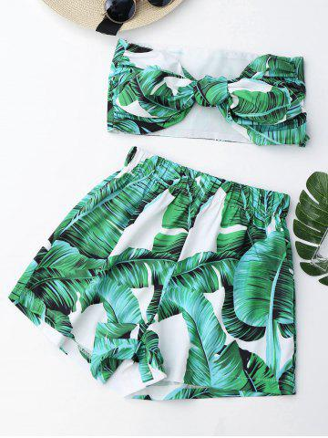 Unique Tied Bandeau Top with Palm Leaf Print Mini Shorts - S GREEN Mobile