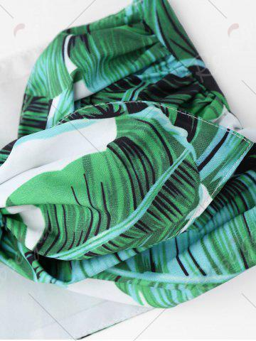 Fashion Tied Bandeau Top with Palm Leaf Print Mini Shorts - XL GREEN Mobile