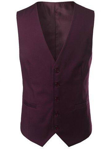 Outfits Single Breasted V Neck Belt Design Waistcoat - 4XL WINE RED Mobile